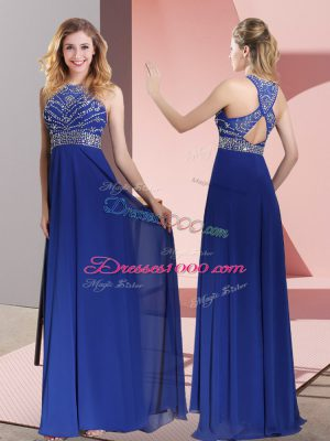 Dramatic Blue Empire High-neck Sleeveless Satin Sweep Train Criss Cross Beading and Lace Prom Dress