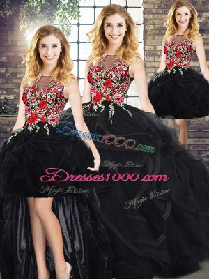 Discount Scoop Sleeveless Sweet 16 Quinceanera Dress Floor Length Embroidery and Ruffles Black