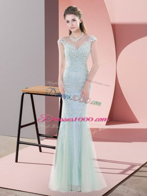 Blue Cap Sleeves Beading Floor Length Prom Dress
