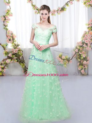 Apple Green Cap Sleeves Appliques Floor Length Vestidos de Damas