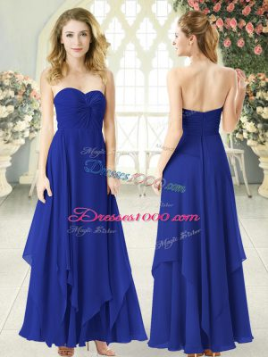Ideal Chiffon Sweetheart Sleeveless Zipper Ruching Prom Dresses in Royal Blue