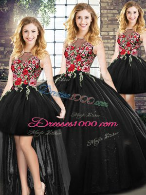 Glittering Floor Length Zipper Sweet 16 Dress Black for Military Ball and Sweet 16 and Quinceanera with Embroidery