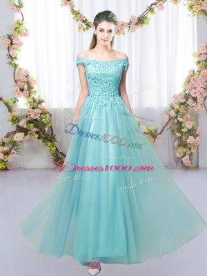 Unique Aqua Blue Lace Up Bridesmaid Dress Lace Sleeveless Floor Length
