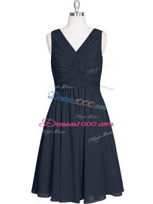 V-neck Sleeveless Zipper Evening Dress Black Chiffon