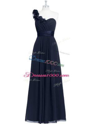 Deluxe Floor Length Black Prom Evening Gown One Shoulder Sleeveless Zipper
