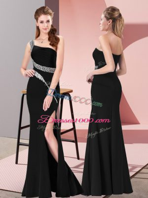 Sleeveless Satin Floor Length Zipper Prom Gown in Black with Beading