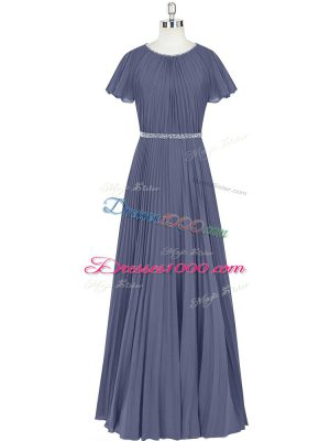 Discount Floor Length Blue Chiffon Short Sleeves Beading and Pleated