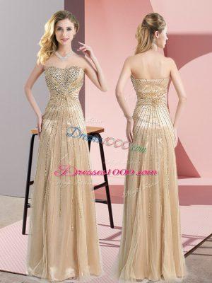 Floor Length Champagne Prom Dresses Tulle Sleeveless Beading