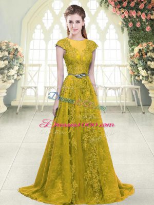 Extravagant Sweep Train A-line Homecoming Dress Gold Scoop Tulle Cap Sleeves Zipper