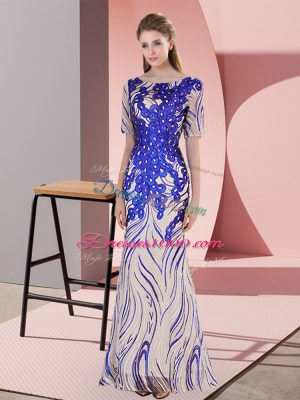 Graceful Royal Blue Mermaid Scoop Half Sleeves Floor Length Zipper Appliques and Sequins Prom Dresses