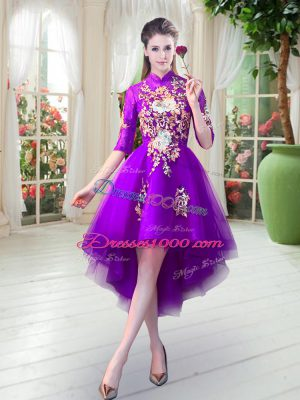 Dazzling Half Sleeves Tulle High Low Zipper Prom Party Dress in Purple with Appliques
