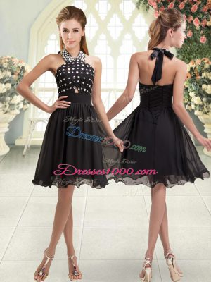 Gorgeous Halter Top Sleeveless Evening Dress Mini Length Beading Black Chiffon