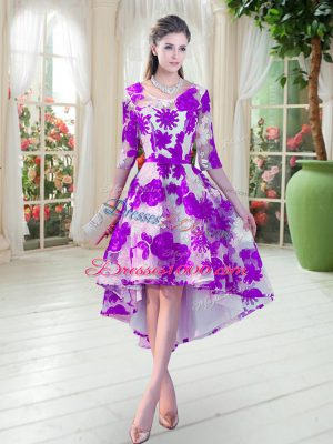 Sumptuous White And Purple Scoop Lace Up Belt Prom Dresses Half Sleeves