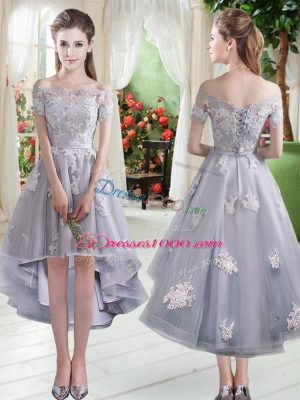 Affordable High Low A-line Cap Sleeves Silver Prom Dress Lace Up