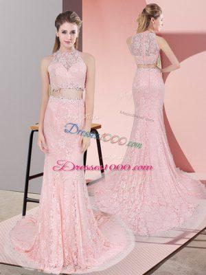 Pink Prom Dresses Lace Court Train Sleeveless Beading