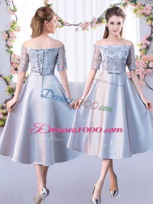 Lace Wedding Guest Dresses Silver Lace Up Half Sleeves Tea Length
