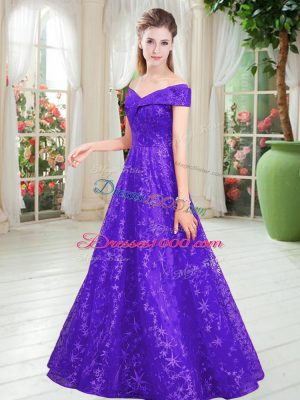 Inexpensive Sleeveless Lace Floor Length Lace Up Prom Dresses in Purple with Beading