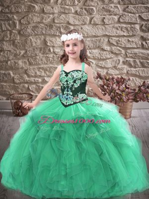 Turquoise Sleeveless Tulle Lace Up Pageant Dresses for Party and Wedding Party