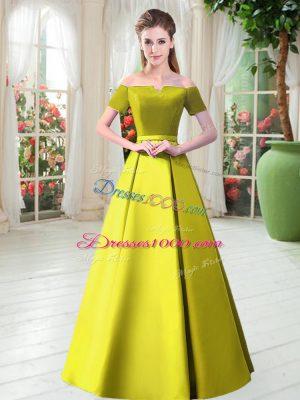 Yellow Green Short Sleeves Floor Length Belt Lace Up Evening Dress