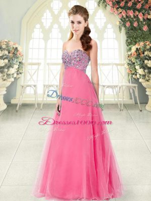 Hot Pink Lace Up Dress for Prom Beading Sleeveless Floor Length