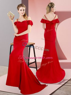 Vintage Red Straps Lace Up Beading Sweep Train Sleeveless
