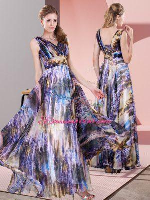 Multi-color Lace Up V-neck Pattern Prom Dress Printed Sleeveless
