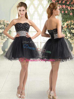Black A-line Tulle Sweetheart Sleeveless Beading Mini Length Lace Up Prom Dresses