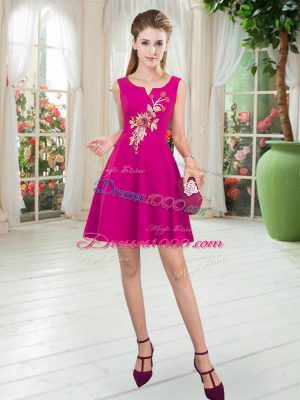 Elegant Fuchsia Sleeveless Mini Length Appliques Zipper Prom Gown