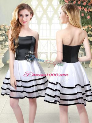 Exceptional White And Black Sleeveless Ruffled Layers and Hand Made Flower Mini Length Dress for Prom