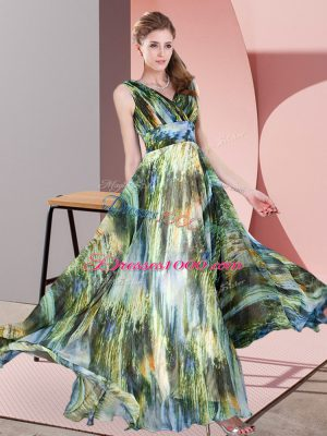 Multi-color Dress for Prom Prom and Party with Pattern V-neck Sleeveless Lace Up