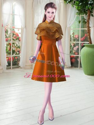 Dynamic Orange Lace Up High-neck Lace Prom Evening Gown Satin Cap Sleeves