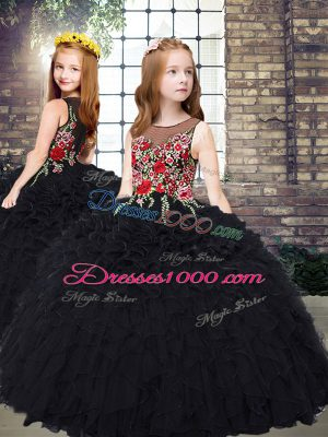 Scoop Sleeveless Organza Child Pageant Dress Embroidery and Ruffles Zipper