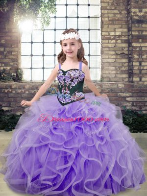 Floor Length Lavender Pageant Dresses Tulle Sleeveless Embroidery and Ruffles