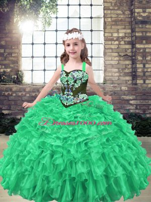 Green Ball Gowns Organza Straps Sleeveless Embroidery and Ruffles Floor Length Lace Up Glitz Pageant Dress