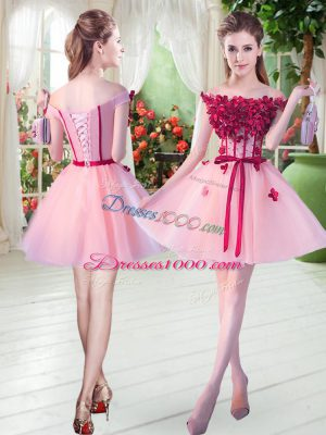 Tulle Sleeveless Mini Length Dress for Prom and Beading and Appliques
