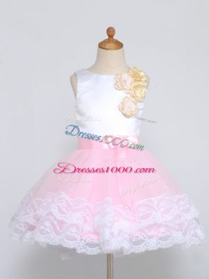 Mini Length Zipper Flower Girl Dress Pink And White for Wedding Party with Lace and Appliques