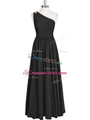 Black Chiffon Zipper One Shoulder Sleeveless Floor Length Prom Dresses Ruching