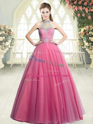Pink A-line Halter Top Sleeveless Tulle Floor Length Zipper Beading Prom Dress