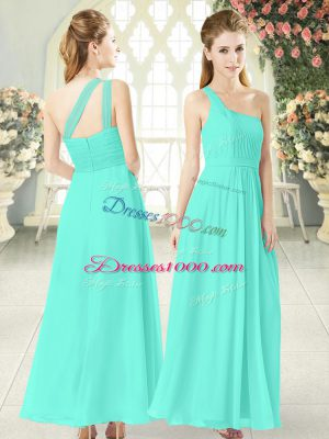 Aqua Blue Zipper One Shoulder Ruching Evening Dress Chiffon Sleeveless