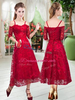 Red Half Sleeves Lace Tea Length Prom Dresses