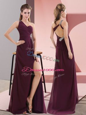 Classical Dark Purple One Shoulder Neckline Beading and Lace Juniors Party Dress Sleeveless Backless