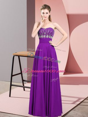 Purple Empire Beading Homecoming Dress Zipper Chiffon Sleeveless Floor Length