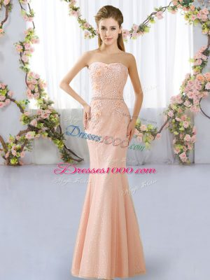 Hot Selling Peach Lace Up Sweetheart Beading Bridesmaid Gown Lace Sleeveless