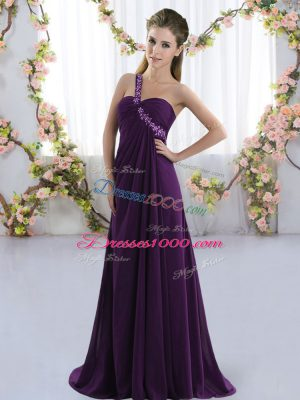 Purple Lace Up Bridesmaid Dresses Beading Sleeveless Brush Train