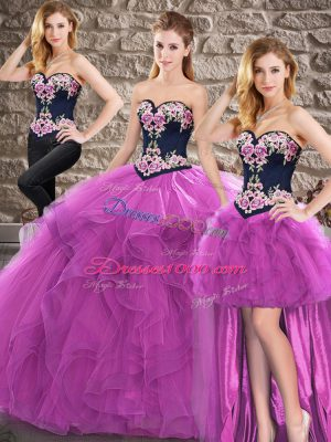 High Quality Purple Three Pieces Tulle Sweetheart Sleeveless Beading and Embroidery Floor Length Lace Up 15 Quinceanera Dress