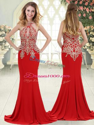 Fashion Red Mermaid Elastic Woven Satin Halter Top Sleeveless Beading and Lace Zipper Prom Evening Gown Sweep Train