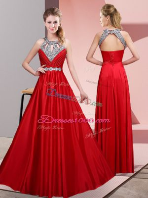New Style Red Lace Up Halter Top Beading Satin Sleeveless