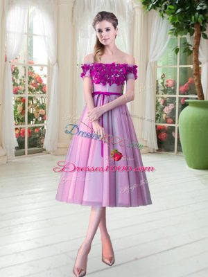 Smart Sleeveless Tea Length Appliques Lace Up Prom Evening Gown with Rose Pink