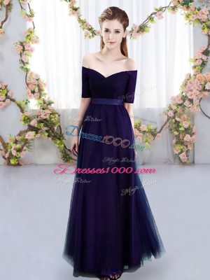 Off The Shoulder Short Sleeves Bridesmaids Dress Floor Length Ruching Purple Tulle