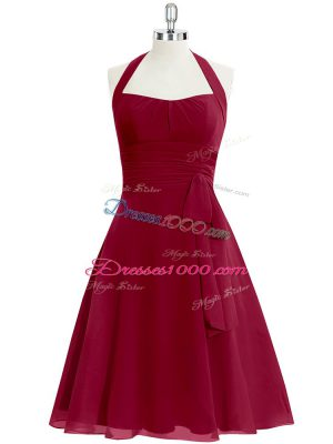 Shining Knee Length Wine Red Homecoming Dress Halter Top Sleeveless Zipper